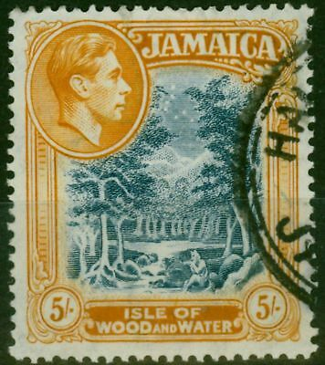 Jamaica 1941 5s Slate-Blue & Yellow Orange SG132a Line P.14 Fine Used