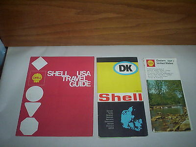 Shell Oil Company 1971 Atlas Booklet + Map of Eastern USA '69 & Denmark Map Lot