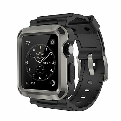 For Apple Watch Rugged Case + Strap Bands + Screen Protector 42mm Fits Series 2