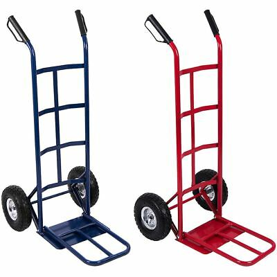 Large Hand Truck Red Blue Heavy Duty Industrial Folding Portable Cart 250kgs