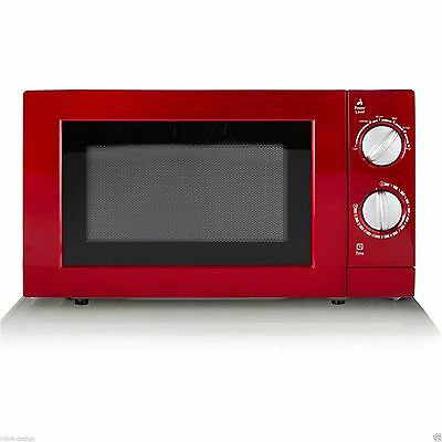 Manual Microwave Oven 700W 17L Red Finish and Contrasting Silver Dials Compact