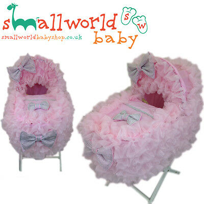 Personalised Romany Style Extra Frilly Pink Bling Moses Basket Cover Set