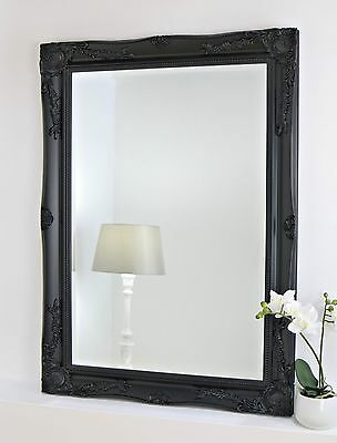"""Isabella Black Shabby Chic Rectangle Antique Wall Mirror 42"""" x 30"""" Large"""