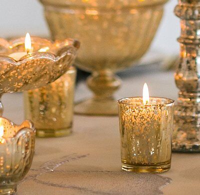 10 x Gold Speckled Candle Votive Tea Light Wedding Events Table Decor EF