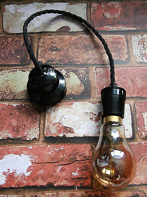Restored Black Pendant Set - Bakelite Ceiling Rose & B22 Lamp Holder, Free Bulb