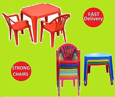 KIDS CHILDRENS PLASTIC Table And Chairs Set Nursery Indoor Outdoor ...