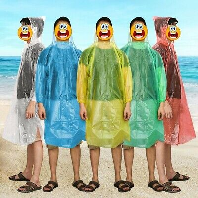 10 x FESTIVAL PONCHO'S WATERPROOF DISPOSABLE PLASTIC EMERGENCY HOODED RAINCOAT