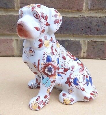 Vintage Japanese Ceramic Dog Figurine decorated with Flowers