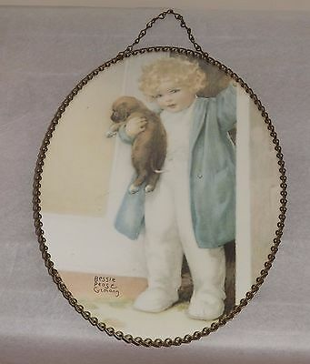 Gallery Graphics Bessie Pease Vintage Flue Cover  Child and Dog Chain