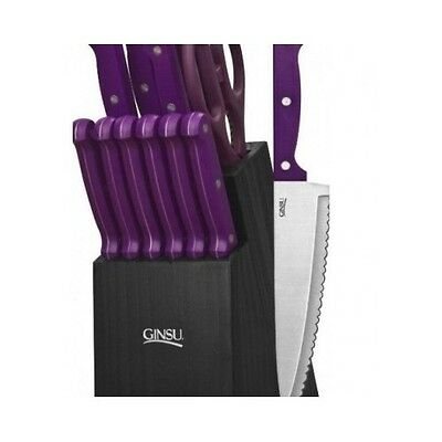 Kitchenware Knife Set  Cutlery Purple 14 Piece Knife And Steak Knife Dining Set