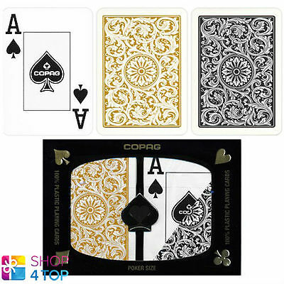 Copag Jumbo Index Double Deck 100% Plastic Poker Playing Cards Black Gold New
