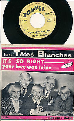 """Les Tetes Blanches 45 Tours 7"""" Belgium It's So Right"""