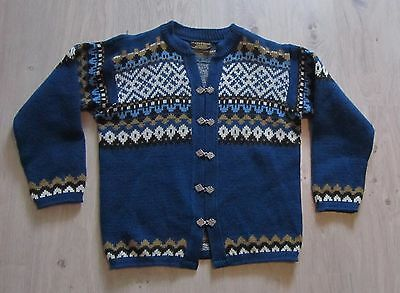 Norwegian Norway Traditional Wool Cardigan + Clasps Blue   Women M