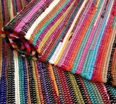 Fair Trade Loom Recycled Rag Rug Chindi Shabby Chic Woven Striped Mat Handmade