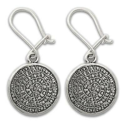 PHAISTOS Disk Silver Pierced Earrings~Greek Minoan Art