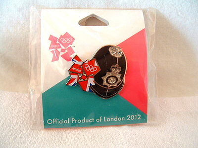 Olympic pin  London 2012 Games - red logo with Bobby helmet