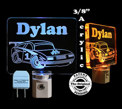 Racecar Personalized  Acrylic LED Night Light - Kids Lamp, nightlight