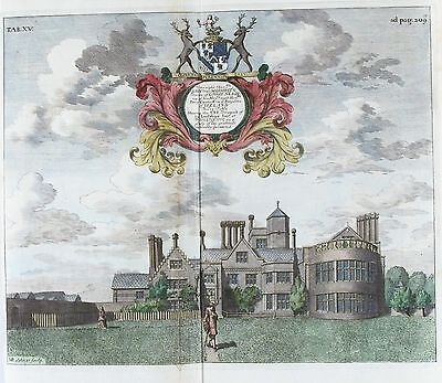 OLD ANTIQUE PRINT FISHERWICK c1686 ENGRAVING by M BURGERS STAFFORDSHIRE