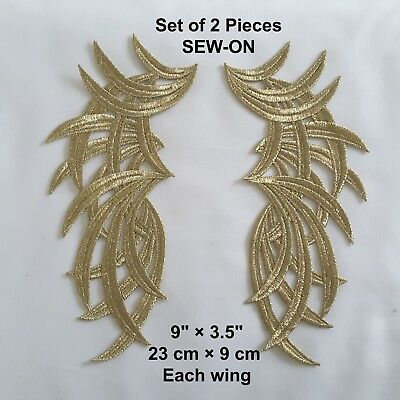 Gold  Embroidered Pair Wings Dance Neck Collar Eve Dress Applique Patch