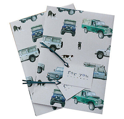 Land Rover Defender Gift Wrapping Paper; 2 sheets plus 2 tags