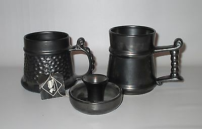 Prinknash Abbey 2 Small Mugs + Candle Holder Gun Metal Grey Hang Tag England Lot