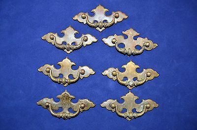 "7 Vintage Chippendale Batwing Brass Drawer Pulls Bail Handle 2 1/2"" Center Bore"