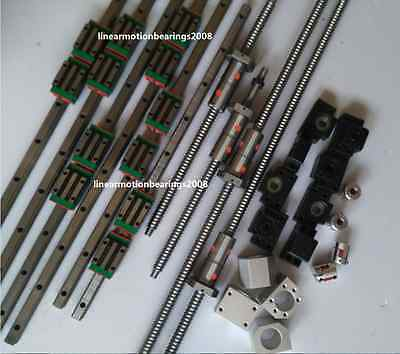 15mm HIWIN Linear guide rail carriages , Ball screws with DOUBLE BALLNUT for CNC