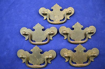 "5 Vintage Chippendale Batwing Brass Bail Handle Drawer Pulls 2 1/2"" Center Bore"