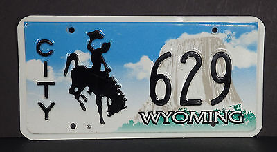 2002 Wyoming Bucking Horse CITY License Plate #629