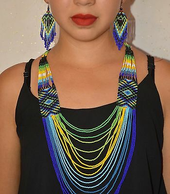 Long Huichol Necklace With Earrings