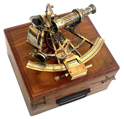 """Vintage Heavy German Working Sextant 8"""" Marine Nautical Collectible W Wooden Box"""