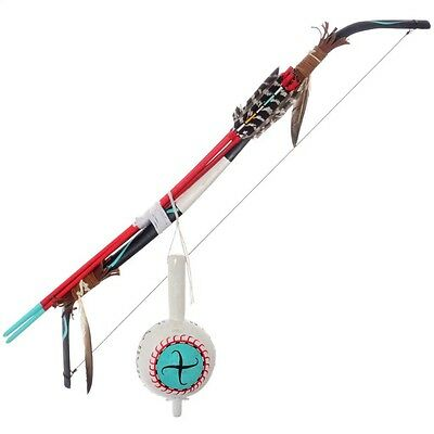 Colorful Hopi  Bow Arrows Wall Display With Pueblo Dance Rattle