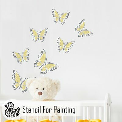 AMELIA BUTTERFLY Nursery or Girls Bedroom - Furniture Wall Stencil for Painting