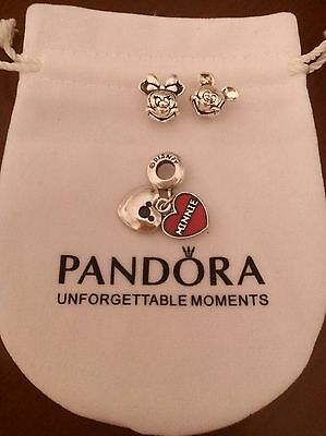 Charm minnie mickey corazones minnie y mickey bolsa pandora de regalo