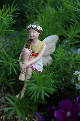 "2.75"" My Fairy Gardens Mini Figure - Kathleen - Sitting Miniature Figurine Decor"