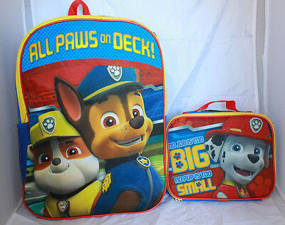 Paw Patrol Boys Bookbag Backpack Lunch Box Kids Nickelodeon School Marshall Blue