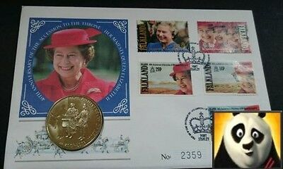 1996 FALKLAND ISLANDS 50p Pence 40th Anniversary QE II First Day Coin Cover