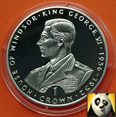 1993 GIBRALTAR 1 One Crown House of Windsor King George VI Silver Proof Coin