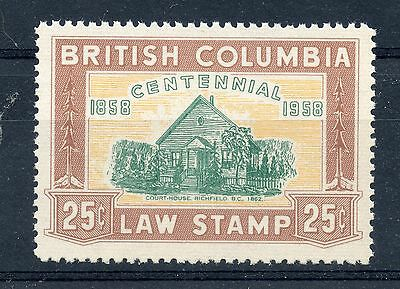 Weeda Canada BCL 47 VF mint NH fully perforated 25c 1958 BC Law revenue. CV $50