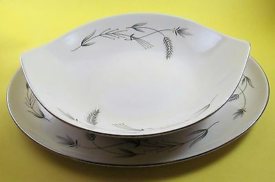 Taylorton Fine China USA Silver Wheat Meat Platter Vegetable Bowl Set Smith