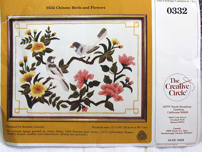 Creative Circle- Chinese Birds Flowers -STAMPED CREWEL EMBROIDERY KIT 0332  NIP