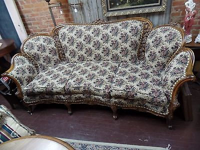 Antique Victorian Sofa Couch Rococo Style Reupholstered - firm, solid and comfy!