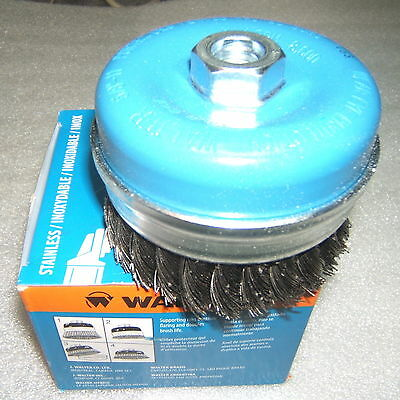 "NEW  WALTER WIRE CUP BRUSH  5""  5/8""-11 13-G 514 .020""   knot-twisted  STAINLESS"