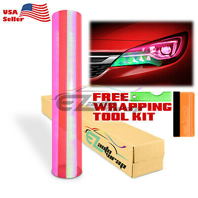 "*Extra Wide*16""x36"" Chameleon Neo Chrome Pink Headlight Taillight Tint Film"