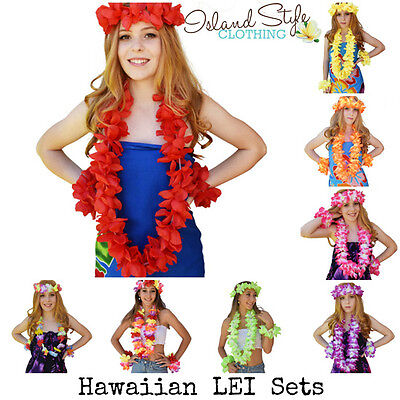 Lei Sets Floral Necklace Hawaiian Fancy Dress Costume Accessories