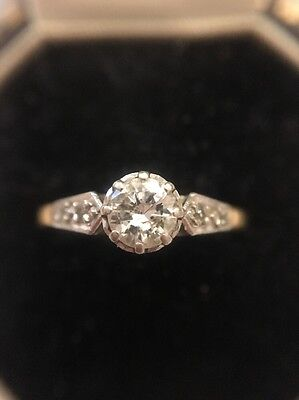Antique Vintage Platinum And 18ct Yellow Gold Diamond Solitaire Stone Ring .50