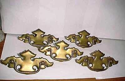 Set of 5 Large Vintage Antique Brass Metal Batwing Style Drawer Pull Handles