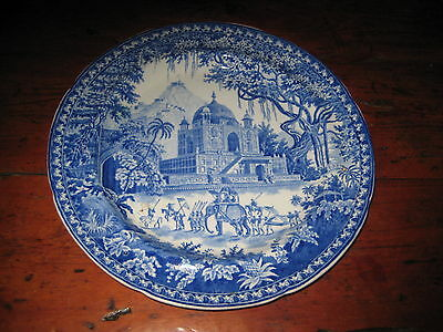 Pearlware Blue & White Plate Indian Scene Elephant Temple + Early 19Th Century