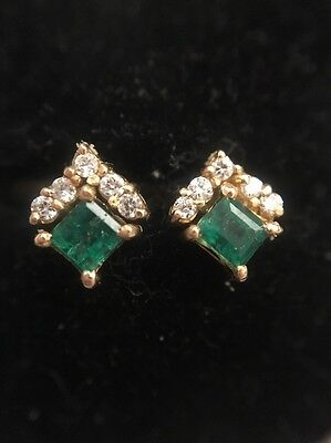 Vintage Antique Yellow Gold 18ct Emerald And Diamond Stud Style Earrings