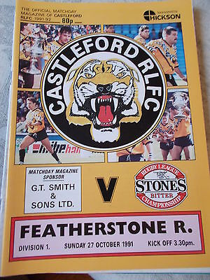 27.10.91 Castleford v Featherstone Rovers rugby league programme